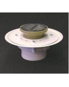 "4 "" Over Pipe Fit Heavy Duty Adjustable Floor Drain with 6'' Strainer"