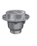 Smith 2495 Heavy Floor Drain with 8 1/2'' Round Top, Flashing Flange and Tractor Grate