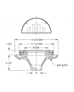 """Smith 2502 Flushing Type Laboratory and Institutional Drain with 11 1/2"""" Top and Integral Grate and Rim"""