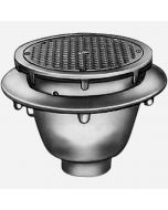 Smith 3060 Sani-Ceptor Arc Floor & Indirect Waste Drains, Shallow Receptor, Round Nickel Bronze Top