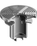 """MIFAB F1370 Area Drain with 16"""" Round Adjustable Heavy Duty Tractor Grate and Extra Deep Sump"""